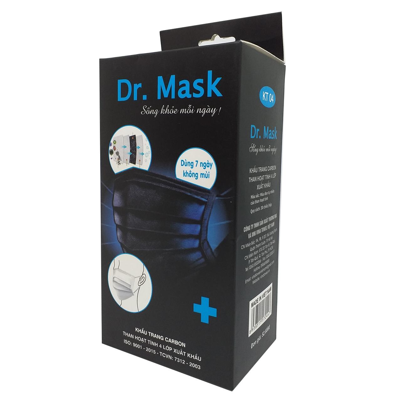 Hộp 30 khẩu trang Dr. Mask carbon than hoạt tính 4 lớp xuất khẩu KT04