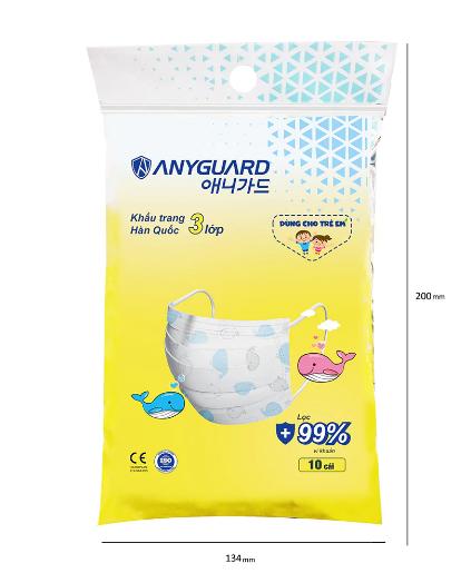 Túi 10 khẩu trang trẻ em 3 lớp Anyguard