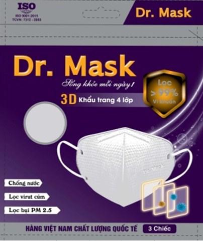 Túi 3 khẩu trang Dr. Mask 4 lớp 3D S2