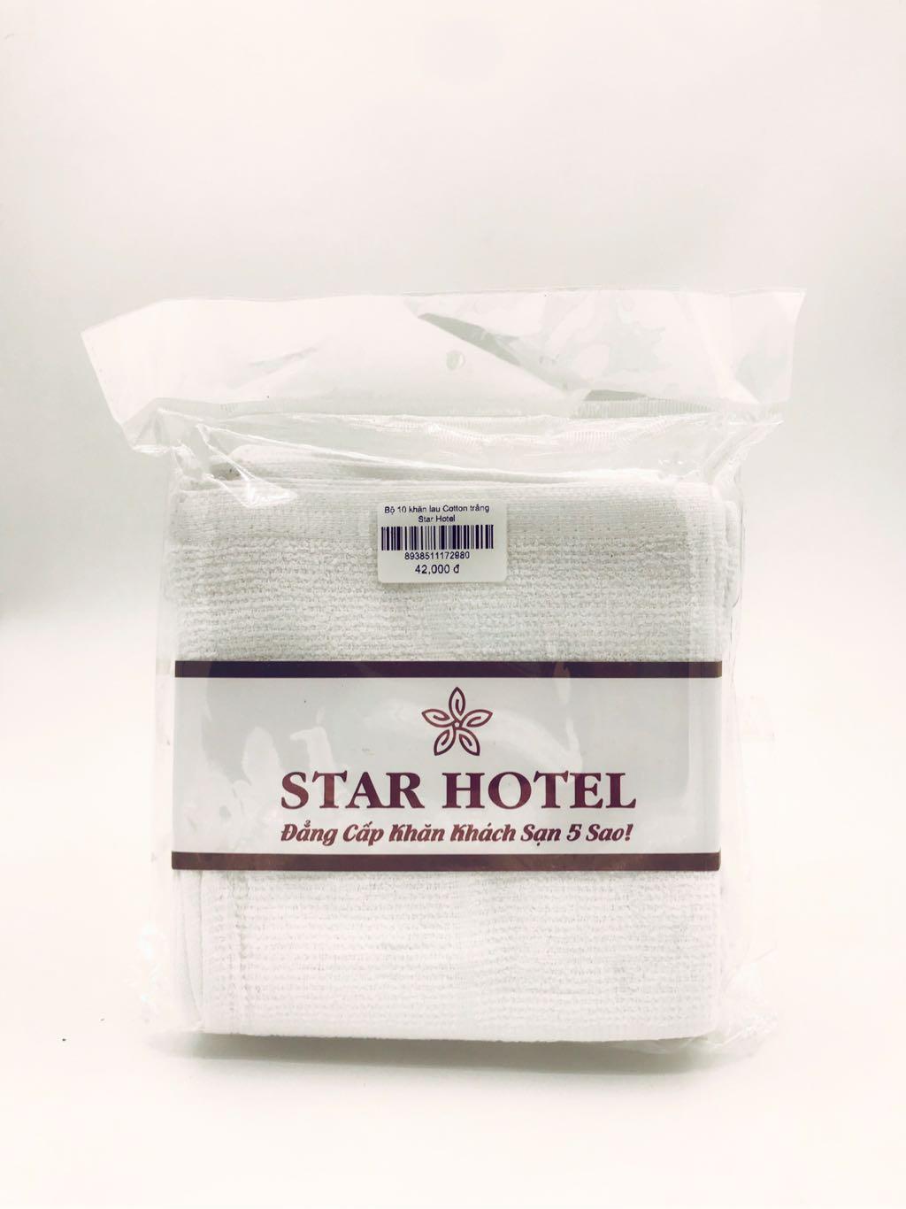 Bộ 10 khăn lau Cotton trắng Star Hotel