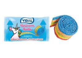 Kẹo cuộn cầu vồng Vidal Unicorn Rolls 19g Tây Ban Nha