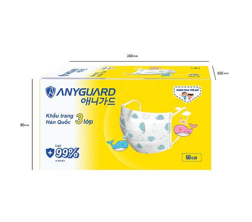 Hộp 50 khẩu trang trẻ em 3 lớp Anyguard