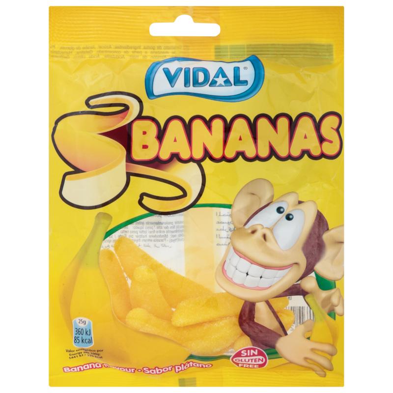 Kẹo dẻo hình quả chuối Vidal Tây Ban Nha 25g