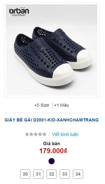 Giày Orban trẻ em D2001 màu xanh chàm đế trắng 5 size 30-34