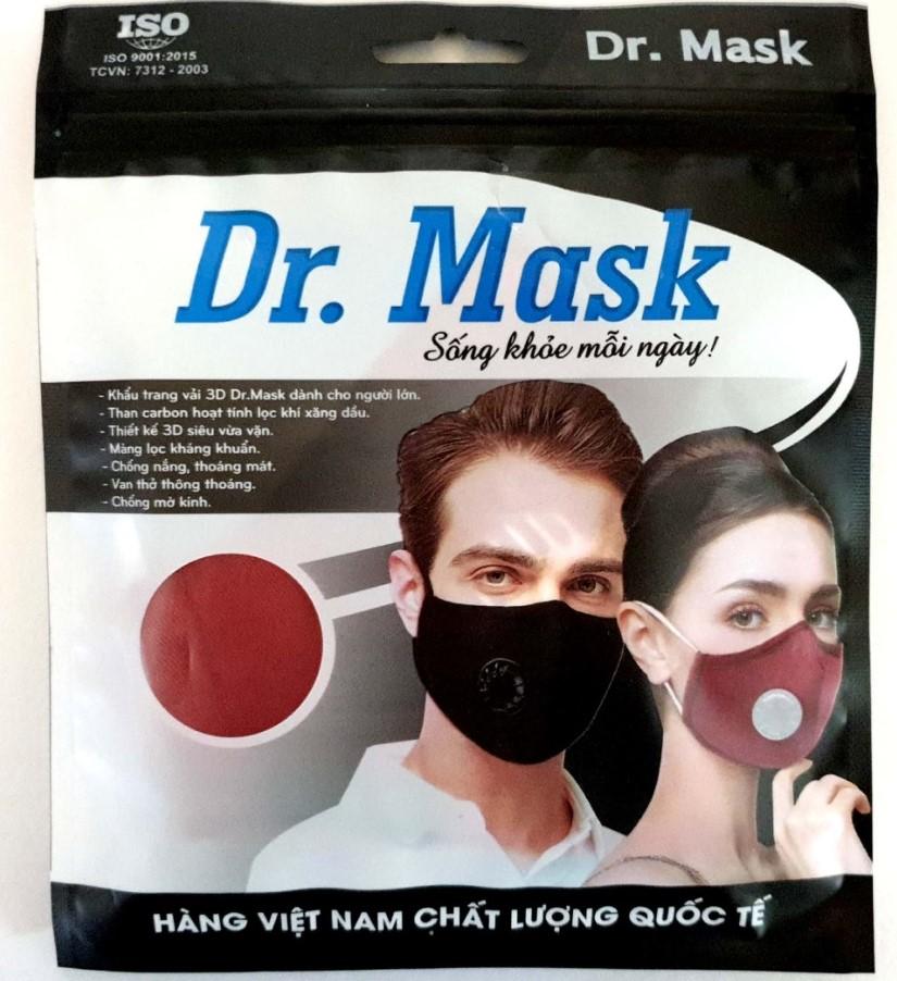 Khẩu trang vải Dr. Mask có van thở 3D V2