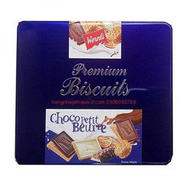 Bánh quy bơ socola Wernli Premium Biscuits Thuỵ Sĩ màu xanh 350g
