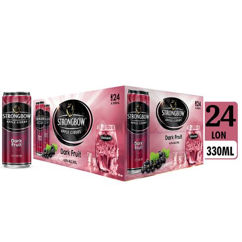 Strongbow nước táo lên men vị dâu đen lon 330ml (24lon/thùng)