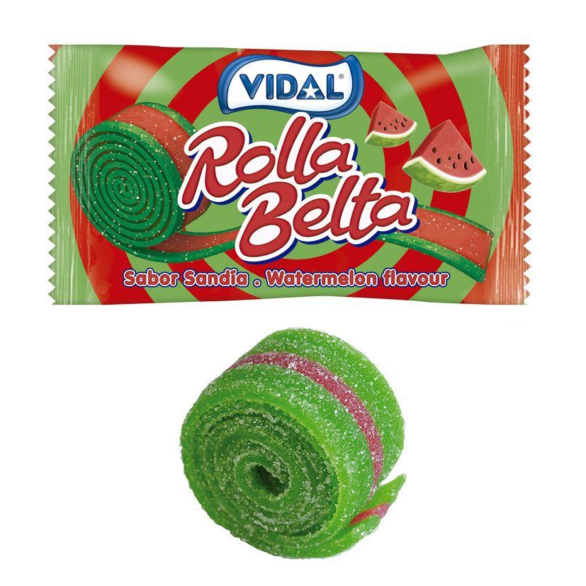 Kẹo cuộn cầu vồng dưa hấu Vidal Rolla 19g Tây Ban Nha
