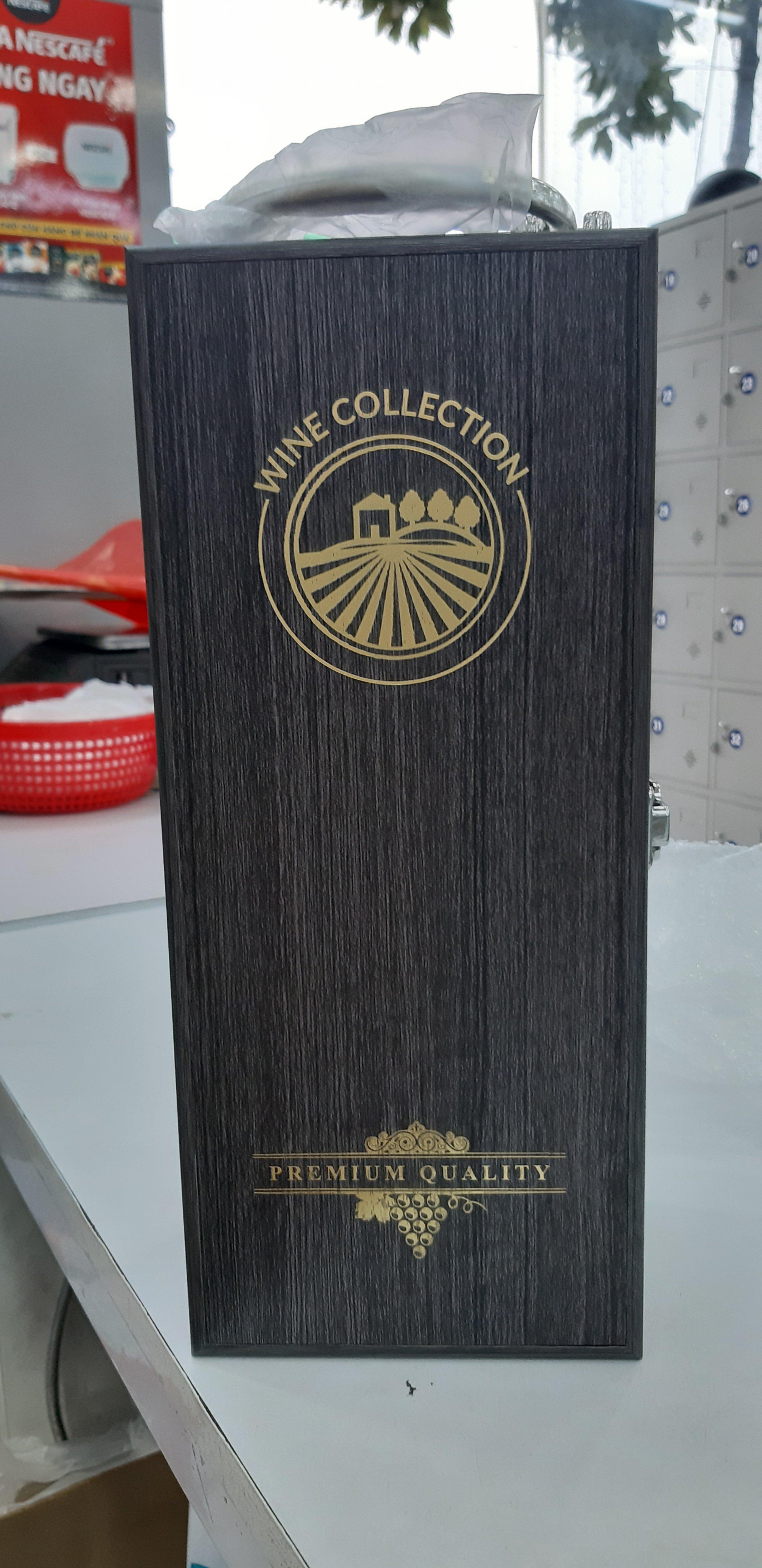 Hộp đựng rượu sơn mài 1 chai màu xám Wine Collection