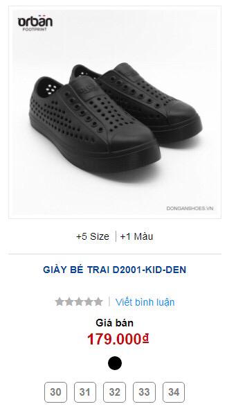 Giày Orban trẻ em D2001 màu đen 5 size 30-34