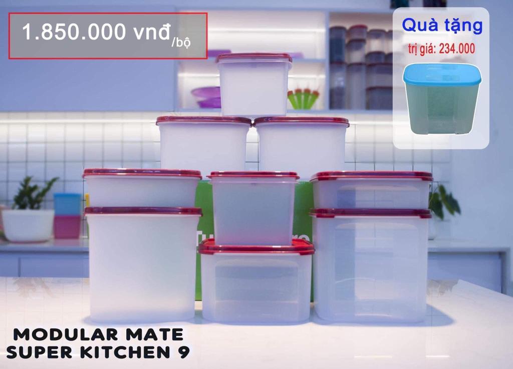 Bộ 9 hộp nhựa Tupperware đựng đồ khô Supper Kitchen
