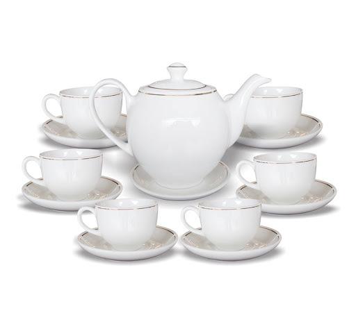 Bộ ấm trà Minh Châu kẻ vàng 01