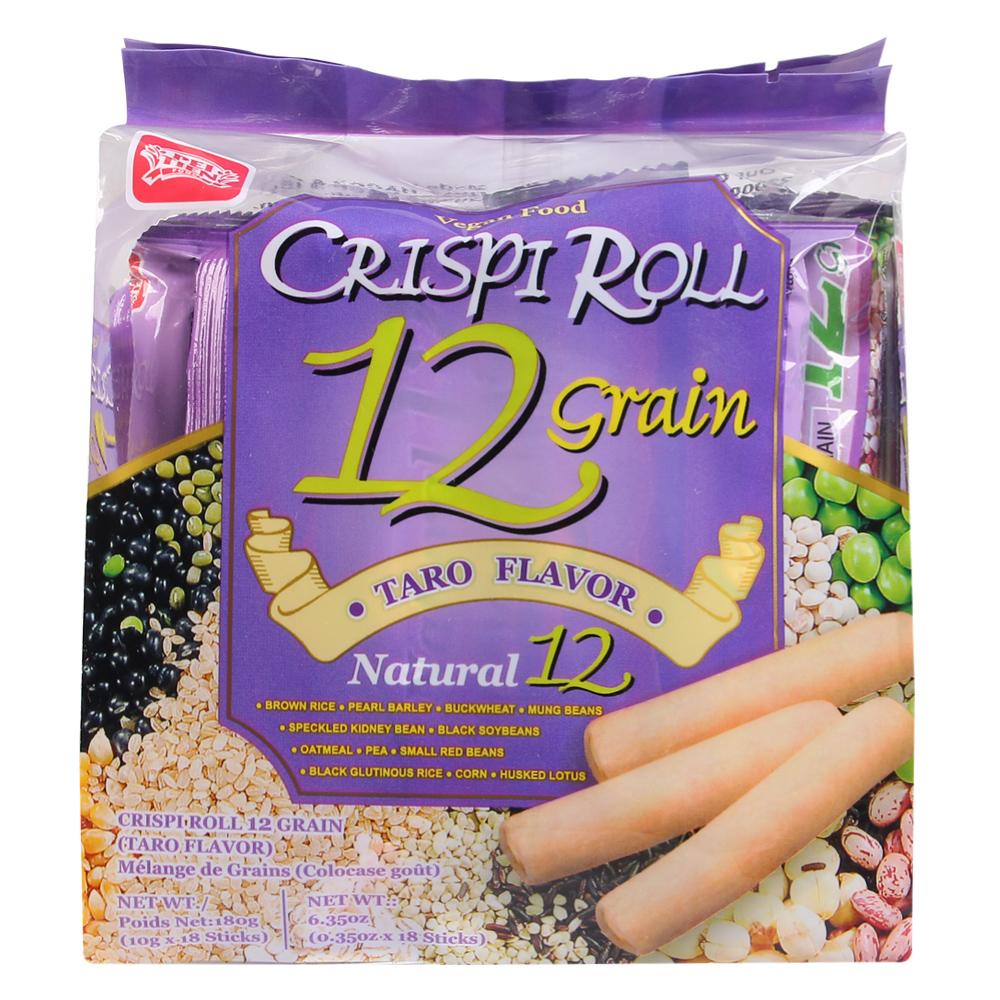 Bánh Crispi roll 12 loại ngũ cốc vị khoai môn Đài Loan 180g