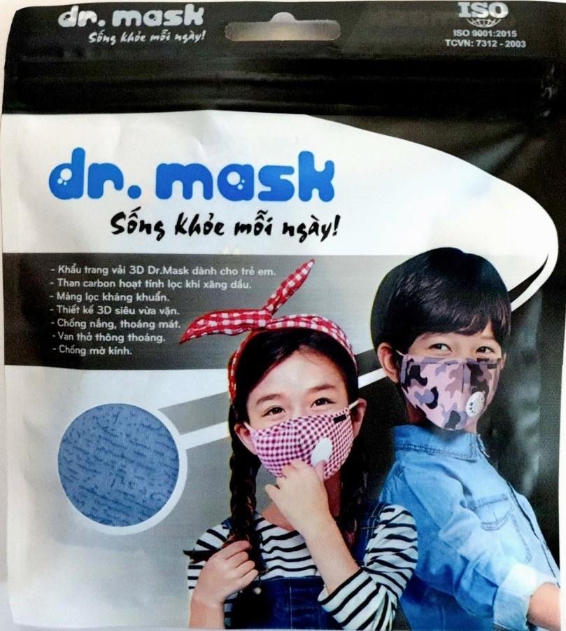Khẩu trang vải trẻ em Dr. Mask có van thở 3D S KIDS