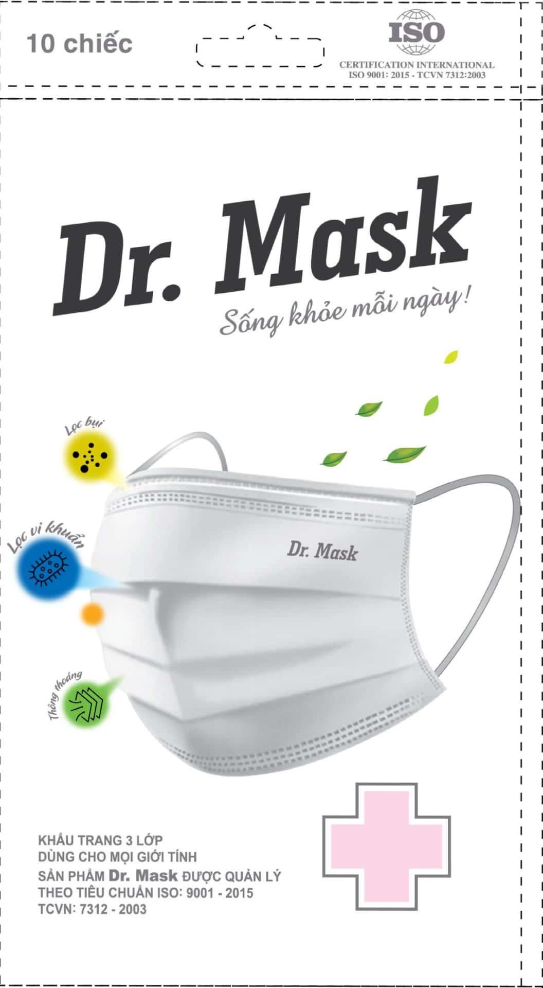 Túi 10 khẩu trang y tế Dr. Mask 3 lớp KT08