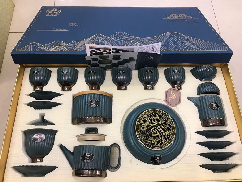 Bộ ấm trà chân cao Hoàng gia xanh lục (có đĩa)