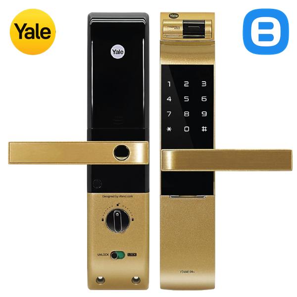 Yale YDM4109A, Khóa cửa điện tử thông minh cao cấp nhận dạng vân tay, Có tay gạt, Màu vàng