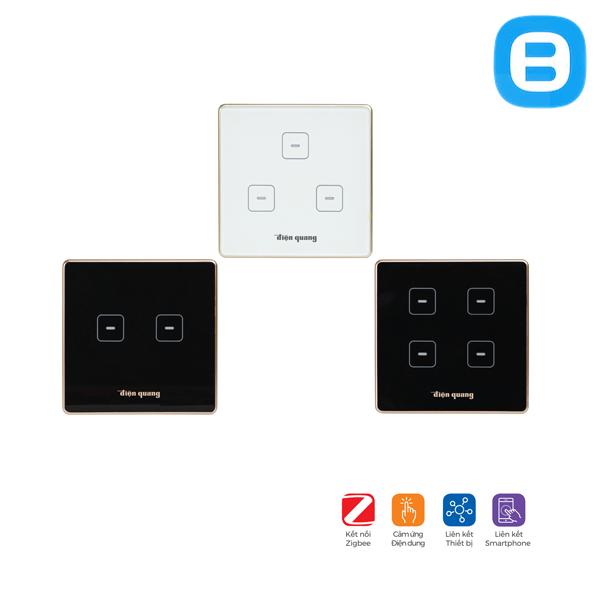 Công tắc cảm ứng DQSmart SW2.1 S Kiểu dáng hình vuông, màu sắc trắng/đen, kết nối Zigbee