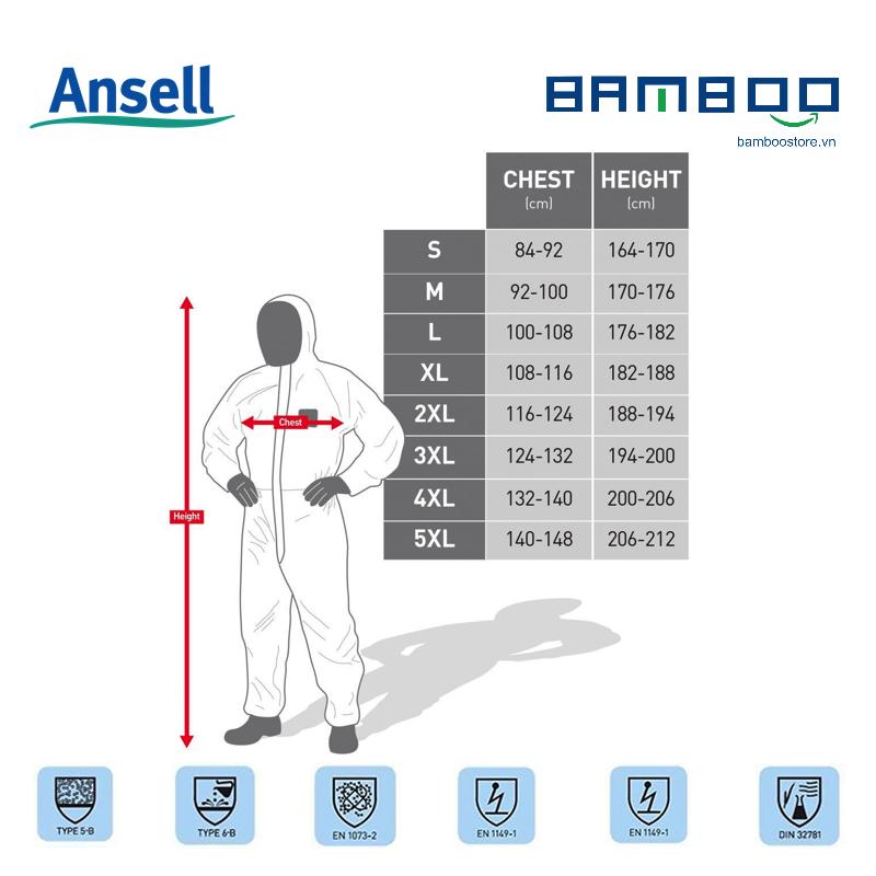 AlphaTec 2000 Quần áo phòng dịch chuẩn Châu Âu chống các tác nhân lây nhiễm