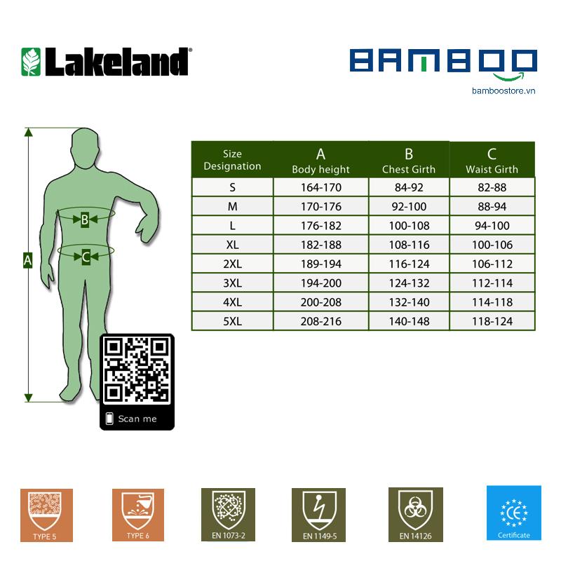 Lakeland EMN248 Quần áo phòng dịch chuẩn Châu Âu chống các tác nhân lây nhiễm hóa chất
