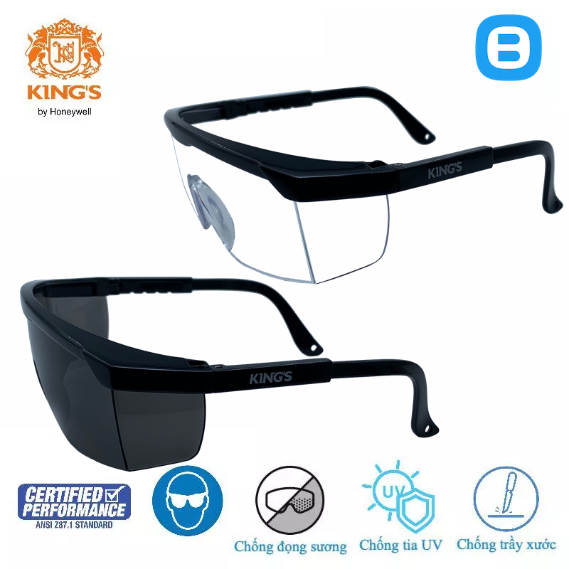 King's KY151 KY152 Kính bảo hộ cao cấp chống bụi, chống tia UV, chống đọng sương bảo vệ mắt