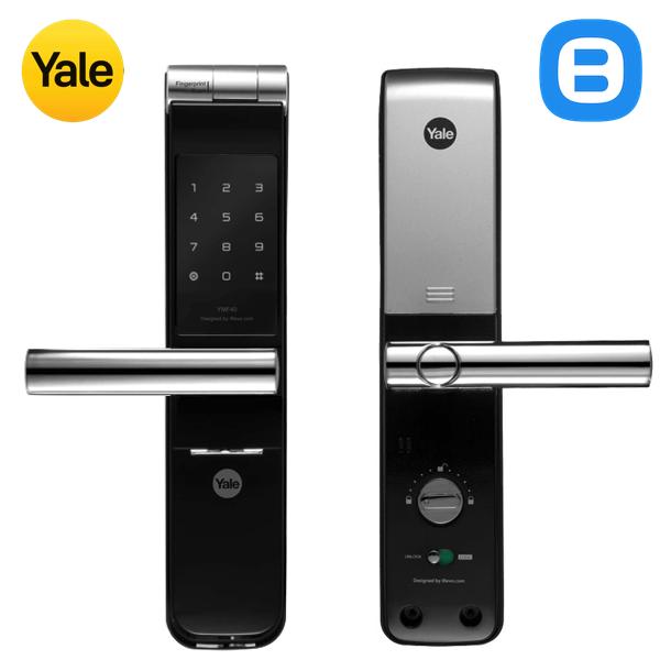Yale YMF40+, Khóa cửa điện tử thông minh cao cấp nhận dạng vân tay, Có tay gạt, Màu đen