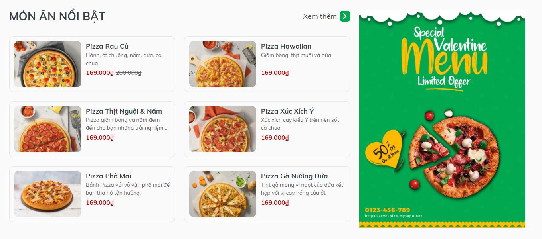 Evo Pizza, Món ăn nổi bật