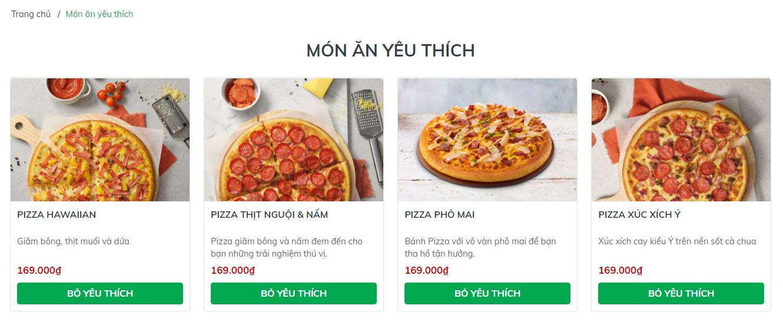 Evo Pizza - Trang sản phẩm yêu thích