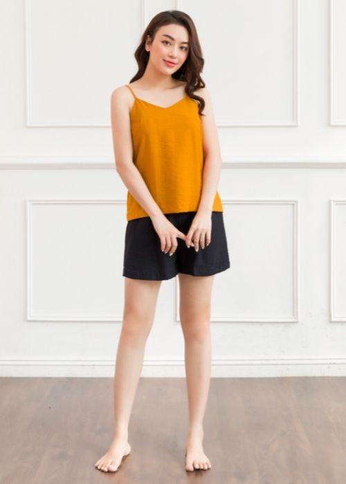Áo 2 dây đũi vàng cam
