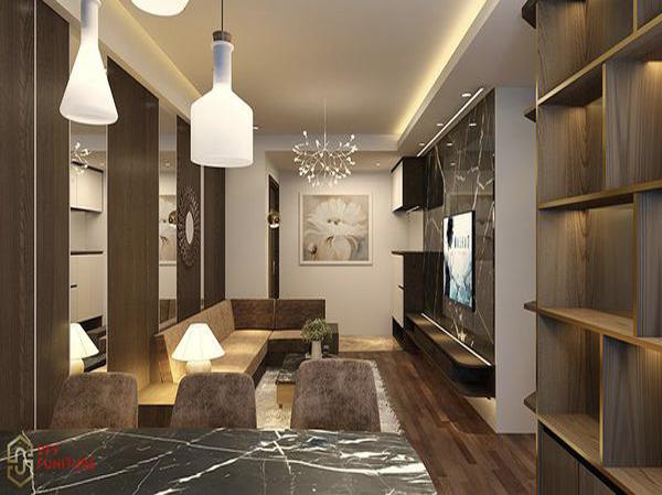 Nội thất căn hộ lung linh với màu nâu đất ấn tượng