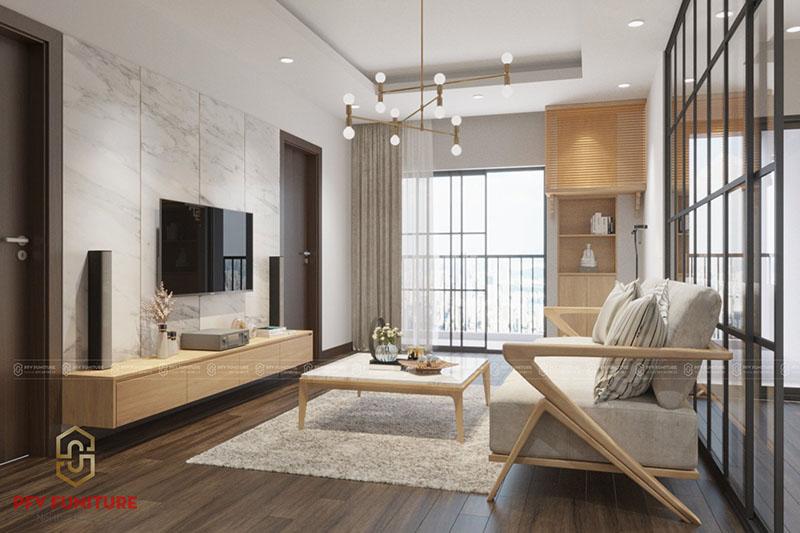 Nội thất căn hộ gỗ tự nhiên phong cách đơn giản