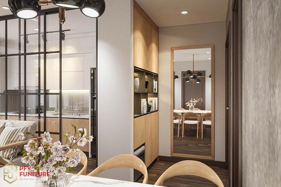 Thiết kế nội thất căn hộ 2 PN gỗ tự nhiên hiện đại