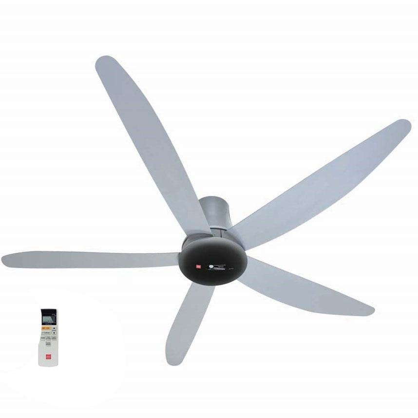 Quạt trần KDK T60AW màu xám, 9 cấp độ gió, động cơ DC