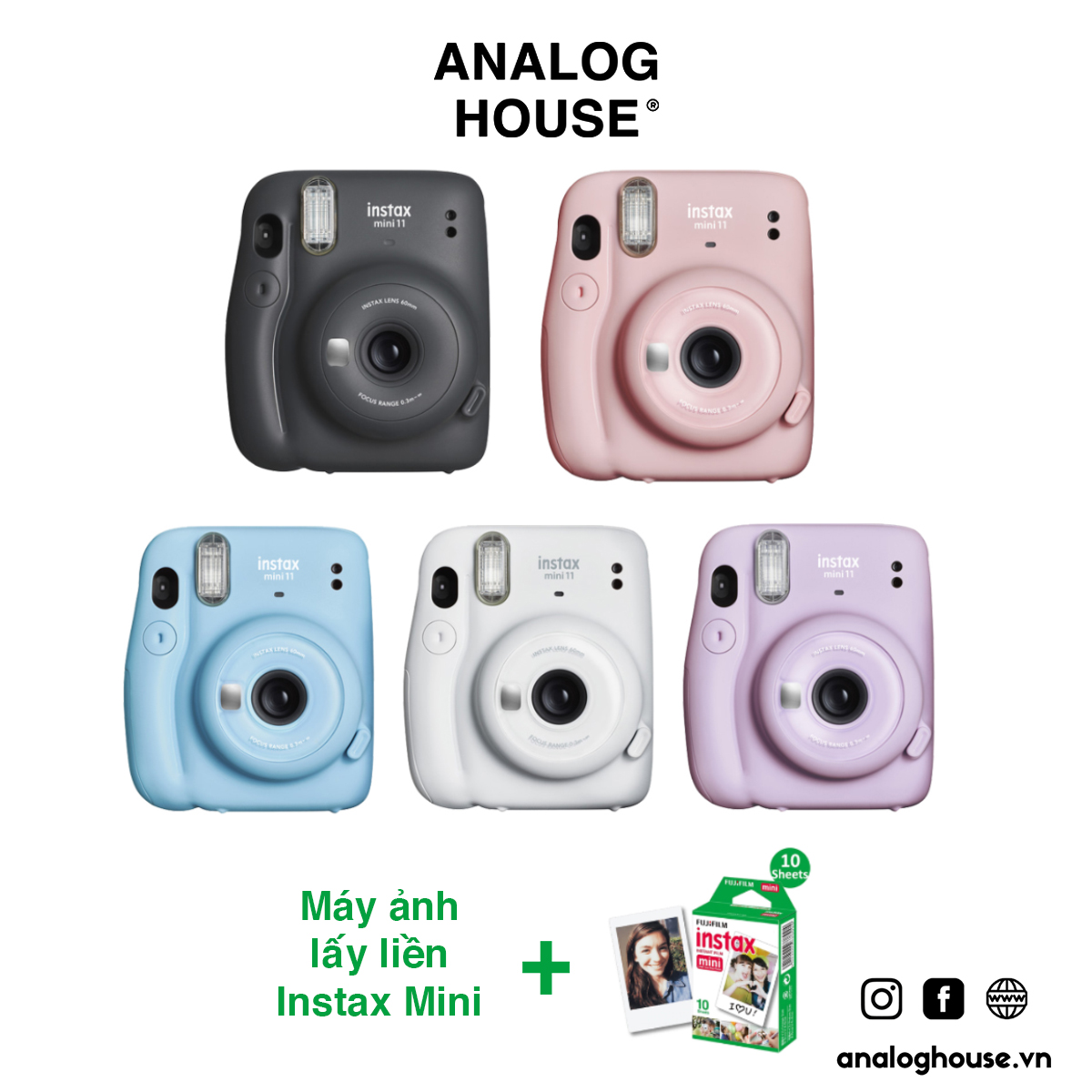 Máy ảnh Fujifilm Instax Mini 11 (Chính hãng, BH 1 năm, tặng kèm film & pin)