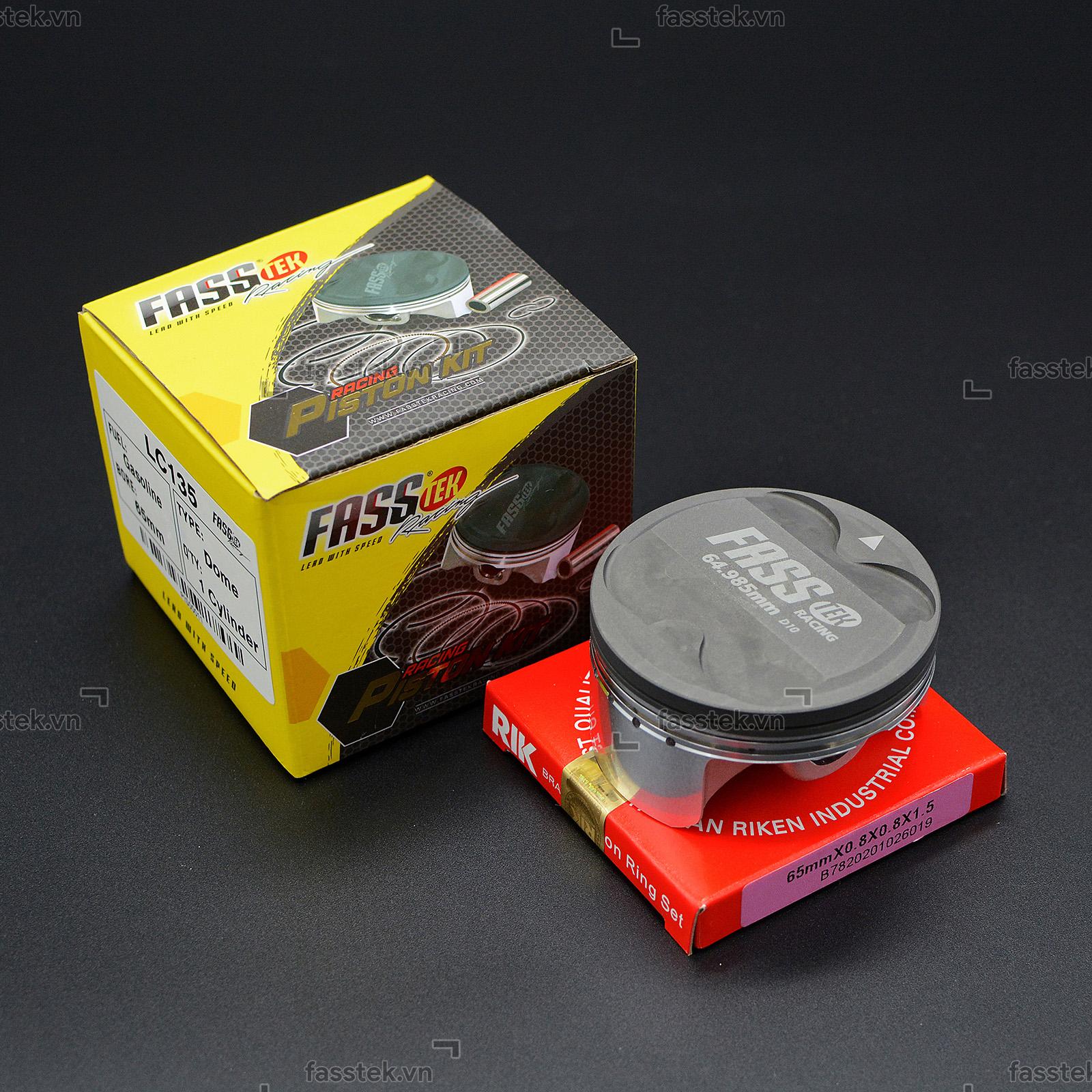Bộ pis-ton nén Fasstek Racing 65mm 3 bạc cho Exciter