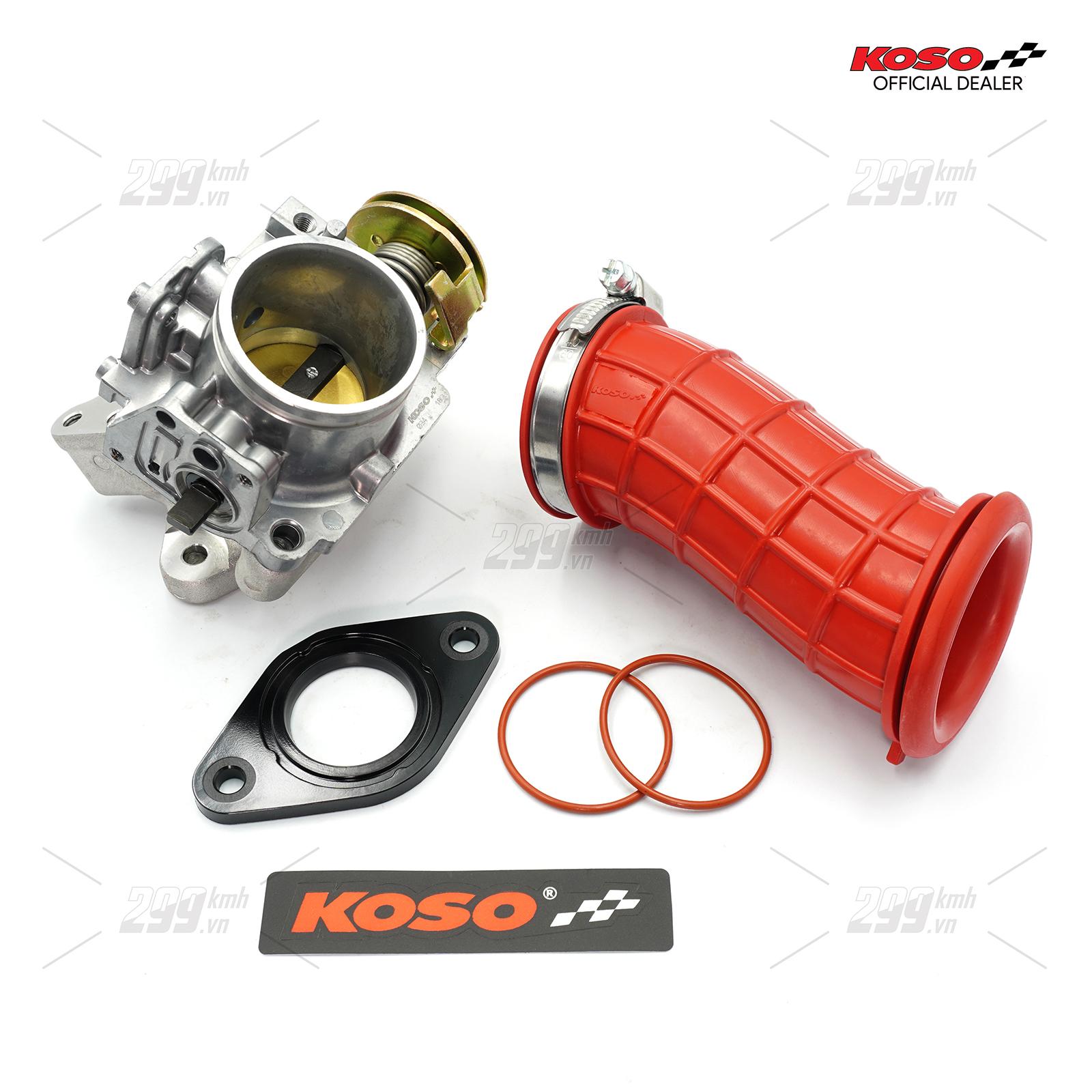 Combo Họng xăng độ 34mm và Co nối bầu lọc gió Koso Racing cho Winner, Winner X, Sonic