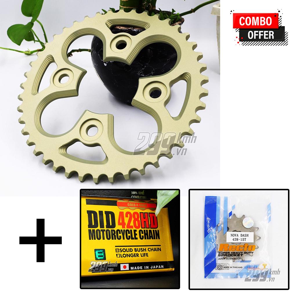 Combo Nhông Recto + Dĩa nhôm 7075 siêu nhẹ + Sên vàng 10 ly DID 428HD cho Winner, Winner X, Sonic