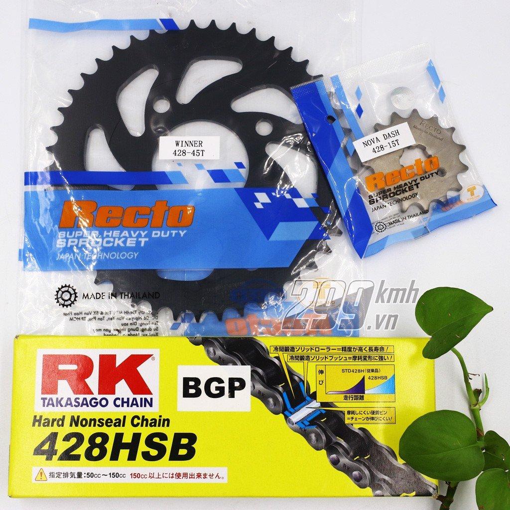 Combo Nhông dĩa Recto + Sên RK 428HSB vàng đen BGP cho Winner, Winner X, Sonic