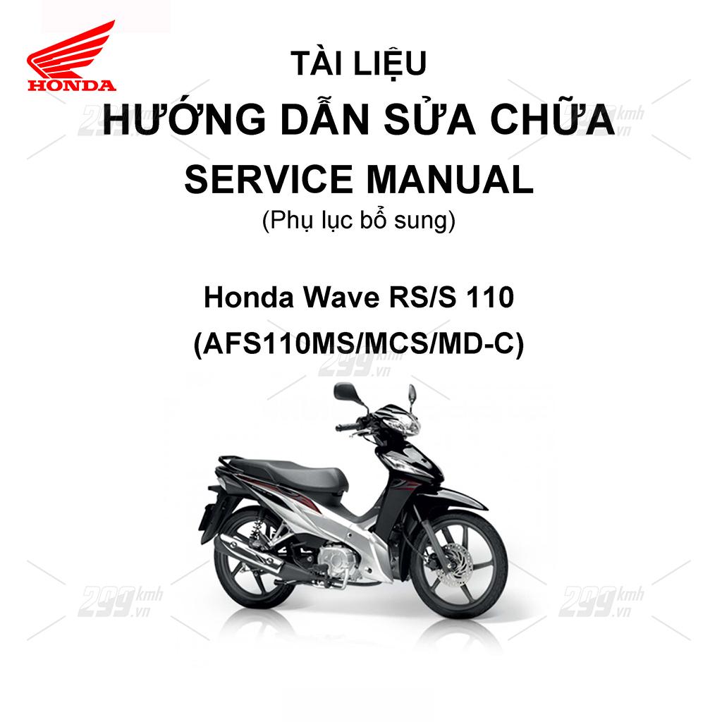 Tài liệu hướng dẫn sửa chữa (Service Manual) - Phụ lục bổ sung - Honda Wave RS/S 110