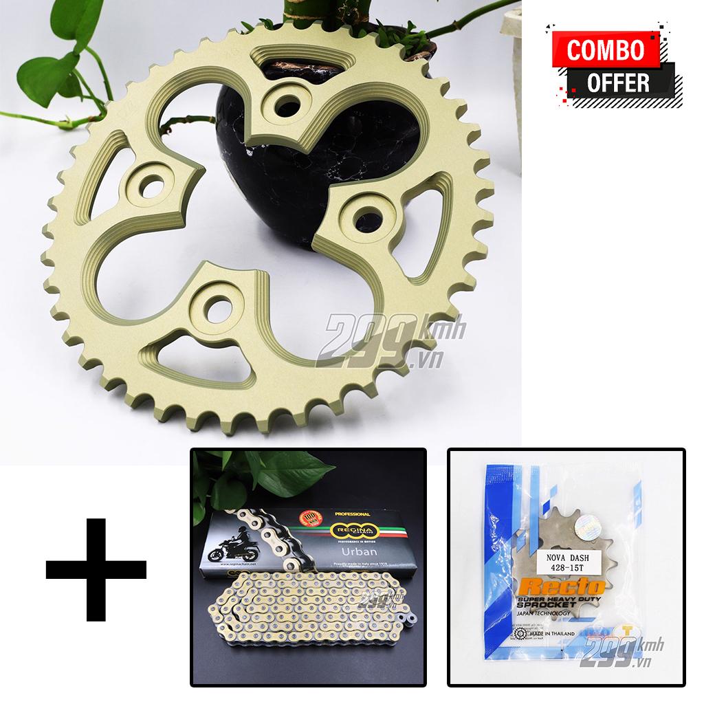 Combo Nhông Recto + Dĩa nhôm 7075 siêu nhẹ + Sên vàng Regina 428 EB-ORO cho Winner, Winner X, Sonic