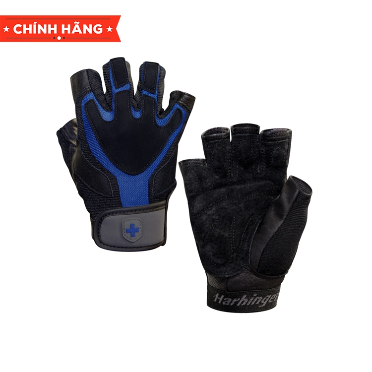 Harbinger 1260 Men's Training Grip Gloves, Blue/Black