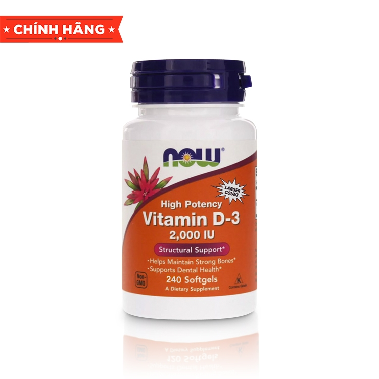 NOW Vitamin D-3 2000 IU, 240 Softgels