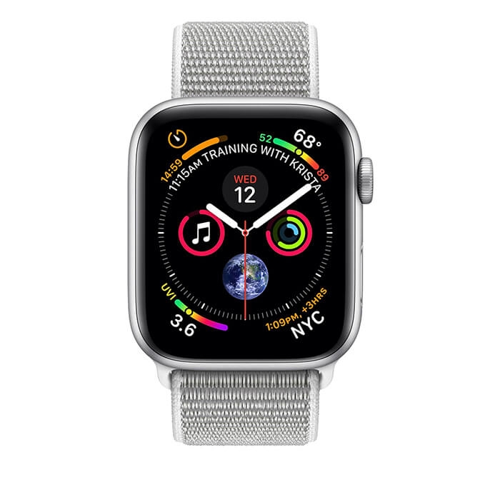 Apple Watch Series 4 Silver Aluminum Case with Seashell Sport Loop