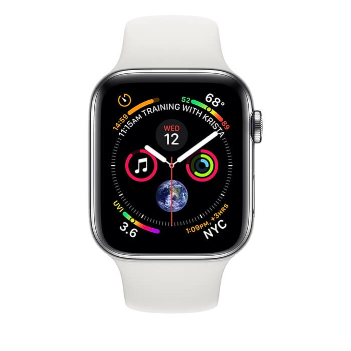 Apple Watch Series 4 Stainless Steel Case with White Sport Band