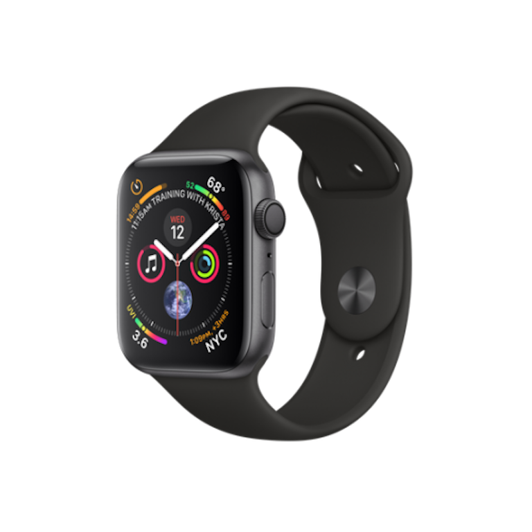 Apple Watch Series 4 44mm Space Grey Aluminium Case with Black Sport Band (GPS) MU6D2
