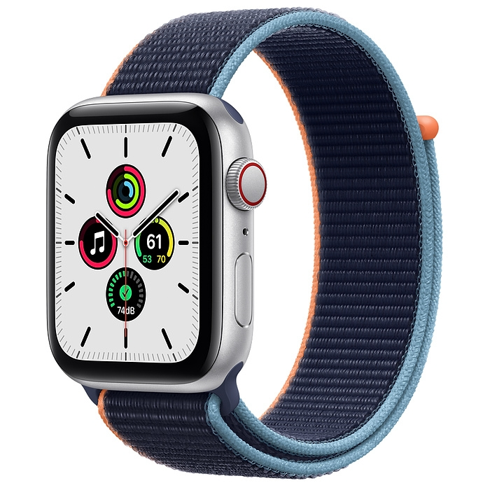 Apple Watch SE GPS + Cellular 44mm Silver Aluminium Case with Deep Navy Sport Loop VN/A