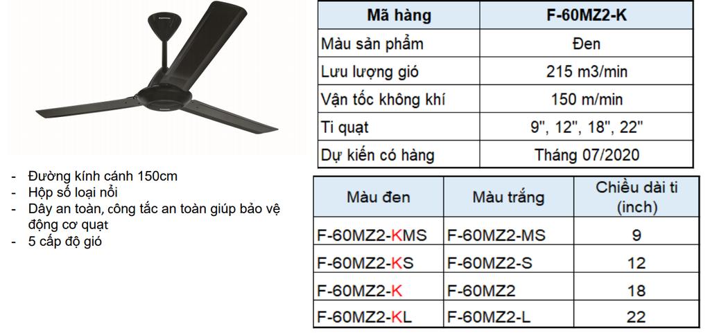 Quạt trần Panasonic 3 cánh màu đen F-60MZ2-K | Công ty Cổ phần Xuất nhập khẩu và Thương mại Lê Gia