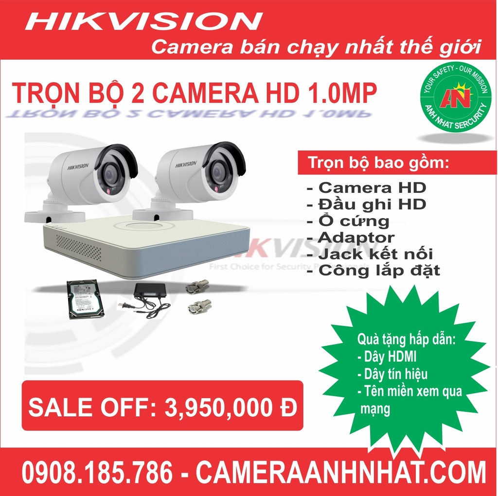 Bộ 2 camera thân HD 1Mp Hikvision