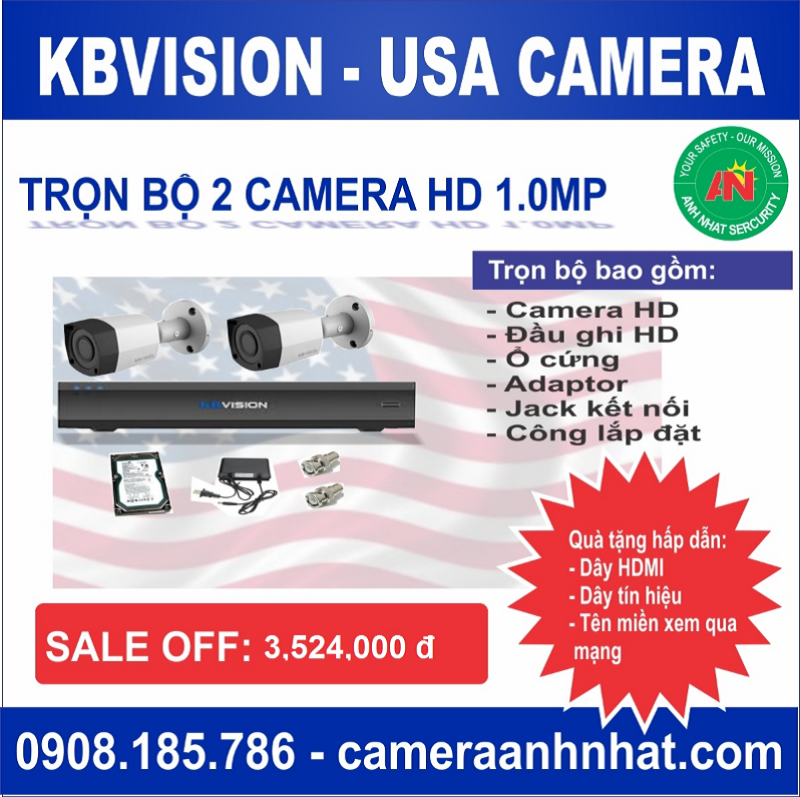 Bộ 2 camera thân HD 1.0Mp KBvision - USA