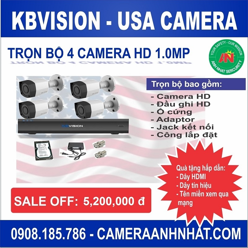 Bộ 4 camera Dome HD 1Mp KBvision USA